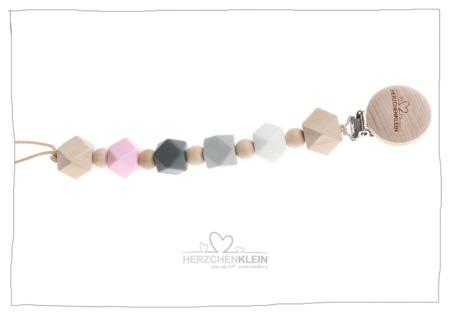 Schnullerkette aus Silikon und Holz – grau, rosa