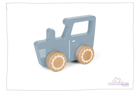 Wooden tractor – blue