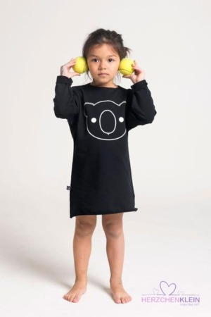 Fluoreszierendes Kleid Koalabär – schwarz