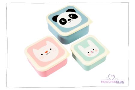 Snackbox 3er Set Katze, Hase, Panda