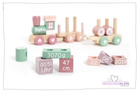 Wooden train – pink