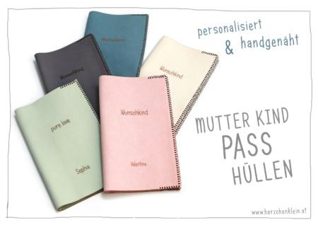 Personalisierte Mutterkind Pass Hülle aus pflanzlich gegerbtem Leder