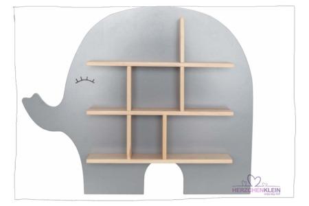 Holz Wandregal Elefant grau