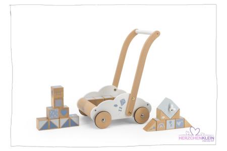 Lauflernwagen mit Bausteinen – Blau Label Label