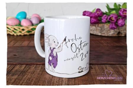"""Osterhasen Tasse """" Frohe Ostern """" mit Wunschname"""
