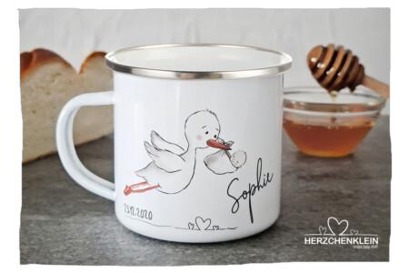 Personalisierte Tasse mit Wunschname / STORCH