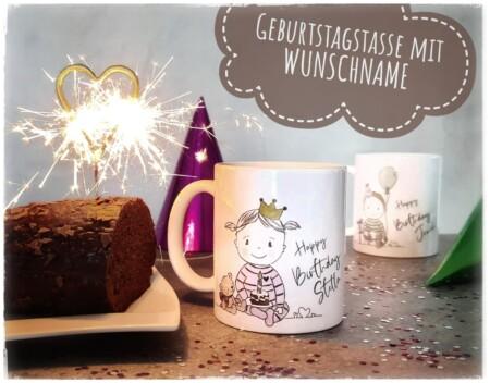 Personalisierte Tasse Happy Birthday – Junge mit Wunschname