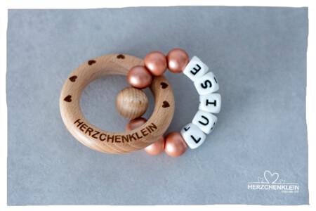 Beissring aus Silikon und Holz in rosegold- Model Luise