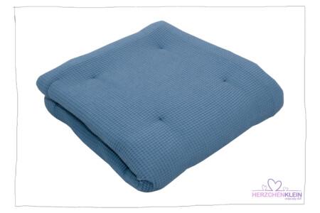 Krabbeldecke Waffelpique Blau
